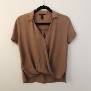 Light Brown Forever 21 Low Cut Blouse Top